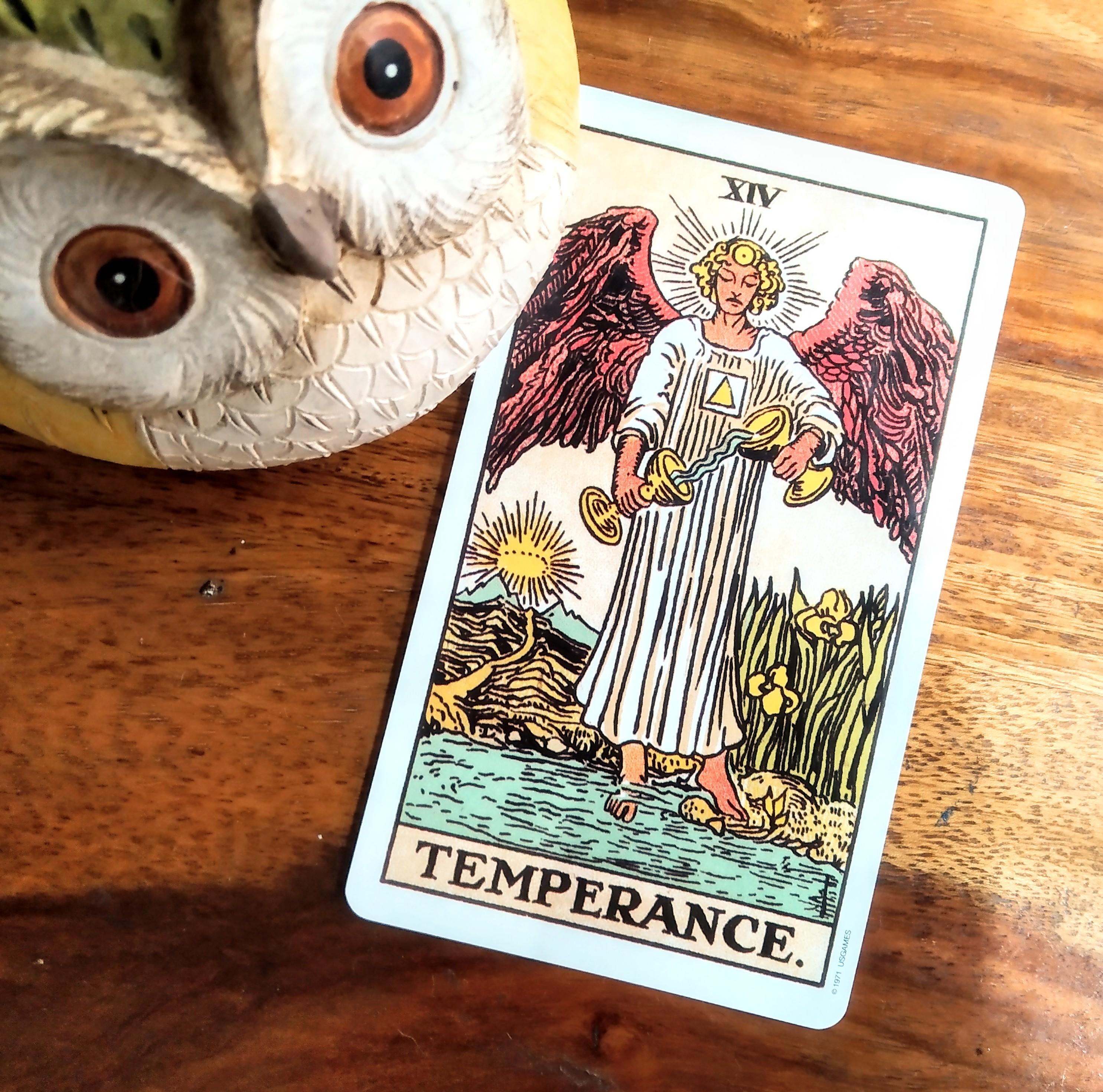 Temperance tarot card, raider waite deck