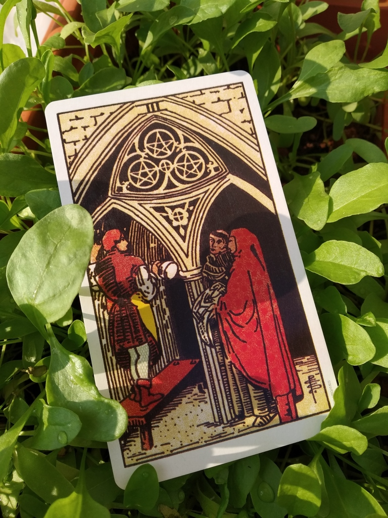three of pentacles meaning, tarot 3 of coins meaning